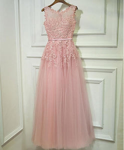 Pink Lace Tulle Long A Line Prom Dress, Pink Evening Dress - DelaFur Wholesale
