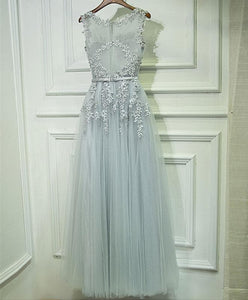 Gray Lace Tulle Long A Line Prom Dress, Gray Evening Dress - DelaFur Wholesale