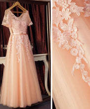 Load image into Gallery viewer, Pink Lace Tulle Long A Line Prom Dress, Pink Evening Dress - DelaFur Wholesale