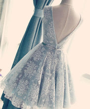Load image into Gallery viewer, Cute V Neck Lace Short Prom Dress, Lace Evening Dress - DelaFur Wholesale