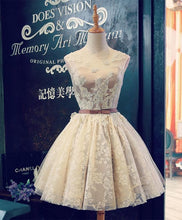 Load image into Gallery viewer, Cute Champagne Lace Short Prom Dress - SpreePicky FreeShipping
