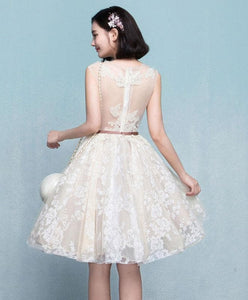 Cute Champagne Lace Short Prom Dress - SpreePicky FreeShipping