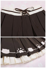 Load image into Gallery viewer, [Set]Kawaii Sailor Blouse With Tie + Bear Foot Print Pleated Skirt SP140995 - SpreePicky  - 5