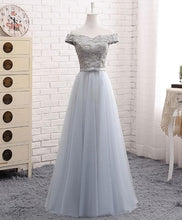 Load image into Gallery viewer, A Line Lace Tulle Off Shoulder Long Prom Dress, Evening Dress - DelaFur Wholesale