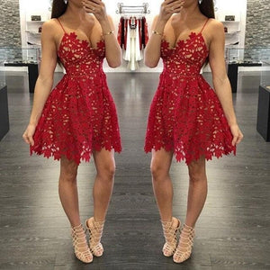 Cute V Neck Red Lace Short Prom Dress, Fashion Girl Dress - DelaFur Wholesale