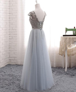 A Line V Neck Lace Tulle Long Prom Dress - SpreePicky FreeShipping