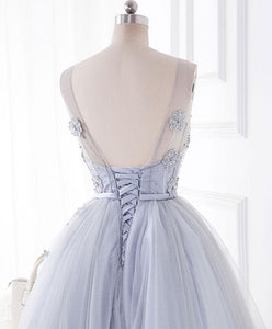 Cute Gray Round Neck  Lace Tulle Short Prom Dress, Homecoming Dress - DelaFur Wholesale