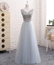 Load image into Gallery viewer, A Line V Neck Lace Tulle Long Prom Dress - SpreePicky FreeShipping