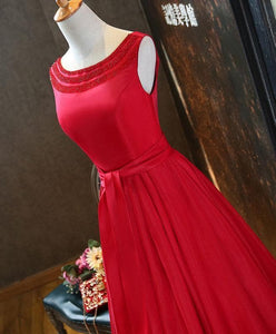 Red A Line Satin Beading Long Prom Dress, Red Evening Dress - DelaFur Wholesale