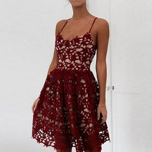 Load image into Gallery viewer, Cute V Neck Burgundy Lace Short Prom Dress, Fashion Girl Dress - DelaFur Wholesale