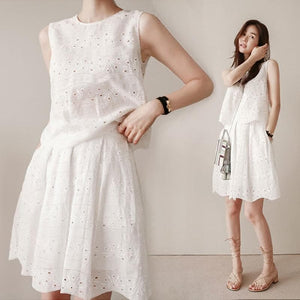 White Two Pieces Dress, Summer Dress - DelaFur Wholesale