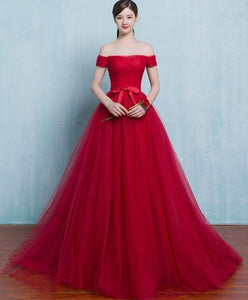 Red A Line Tulle Long Prom Gown, Cheap Evening Dress - DelaFur Wholesale