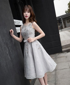 Gray Lace A Line Short Prom Dress, Gray Evening Dress - DelaFur Wholesale