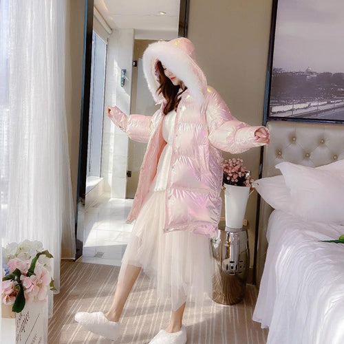 Pink/Silver Hologram Shell Fluffy Coat SP14576