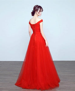 Simple V Neck Tulle A Line Long Prom Dress, Cheap Evenin Dress - DelaFur Wholesale