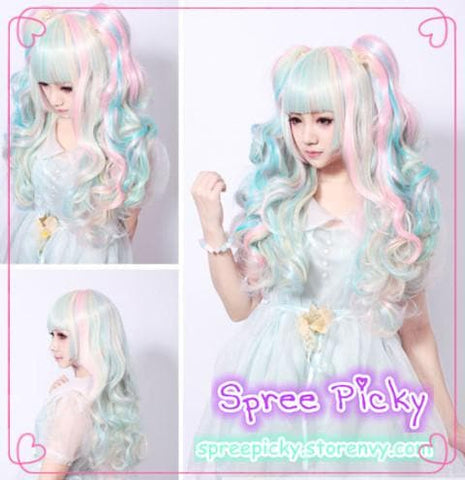 HARAJUKU Lolita Cosplay Candy Bubble 65cm Wig With Pony Tails 3pcs/set SP130188 - SpreePicky  - 2