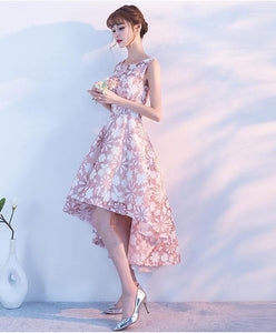 Pink High Low Short Prom Dress, Champagne Evening Dress - DelaFur Wholesale