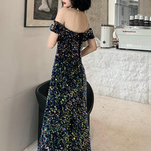 Load image into Gallery viewer, Navy Off Shoulder Sequined Dress SP14612 - SpreePicky FreeShipping