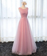 Load image into Gallery viewer, A Line Round Neck Tulle Long Prom Dress, Lace Evening Dress - DelaFur Wholesale