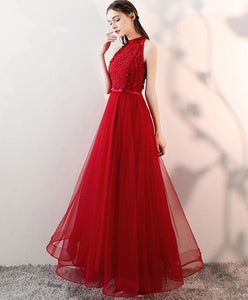 Red V Neck Tulle Long Prom Dress, Red Evening Dress - DelaFur Wholesale