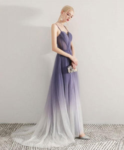 Simple Purple Tulle Long Prom Dress, Tulle Evening Dress - DelaFur Wholesale