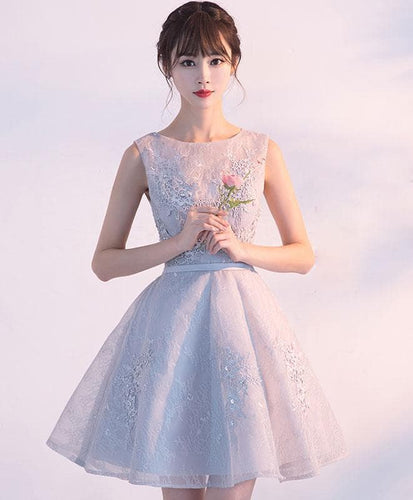 Gray Tulle Lace Short Prom Dress Gray Lace Bridesmaid Dress - DelaFur Wholesale