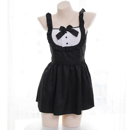Black Kawaii Bowknot Maid Uniform Set
