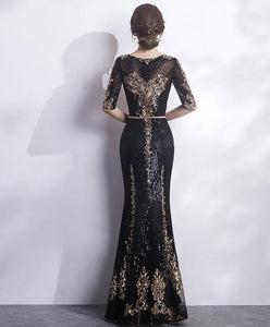 Black Round Neck Lace Mermaid Long Prom Dress, Black Evening Dress - DelaFur Wholesale