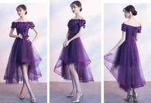 Load image into Gallery viewer, Purple Tull Boat Neck Party Dress SP14742