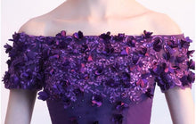 Load image into Gallery viewer, Purple Tull Boat Neck Party Dress SP14742 - SpreePicky