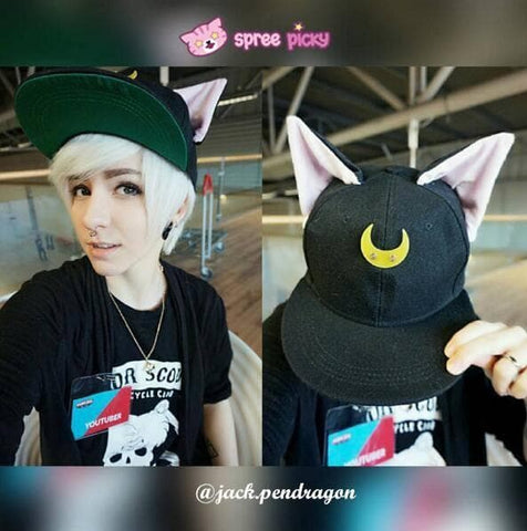 Black/White Sailor Moon Luna/Artemis Beanie Kitty Cap Snapback SP153109 - SpreePicky  - 1