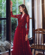 Load image into Gallery viewer, Burgundy V Neck Tulle Lace Long Prom Dress Burgundy Lace Evening Dress - DelaFur Wholesale