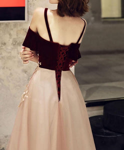 Simple Sweetheart Pink Tulle Lace Long Prom Dress Pink Evening Dress - DelaFur Wholesale