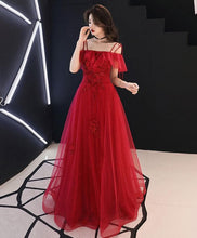Load image into Gallery viewer, Burgundy Tulle Lace Long Prom Dress Burgundy Tulle Lace Evening Dress - Harajuku Kawaii Fashion Anime Clothes Fashion Store - SpreePicky