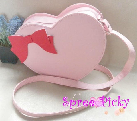 Lolita sweet double sides of heart with bow hang bag - 6 colors -SP130202 - SpreePicky  - 1