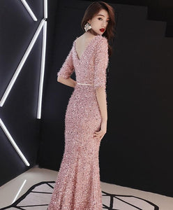 Pink Mermaid Long Prom Dress, Pink Evening Dress - DelaFur Wholesale