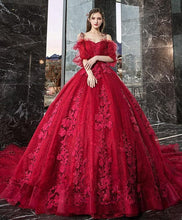 Load image into Gallery viewer, Burgundy sweetheart tulle lace long evening dress, formal dress - DelaFur Wholesale
