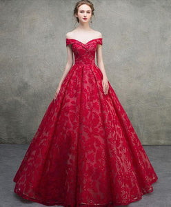 Red Off Shoulder Lace Long Prom Dress, Red Lace Long Evening Dress - DelaFur Wholesale