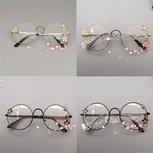 Load image into Gallery viewer, Lolita Metal Round Cherry Blossom Frame Decorative Glasses SP15141