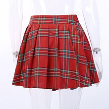 Load image into Gallery viewer, Red Plaid Punk Patchwork Pleated Skirt SP14697