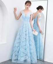Load image into Gallery viewer, Blue  Lace Long Prom Dress, Blue Lace Evening Dress - DelaFur Wholesale