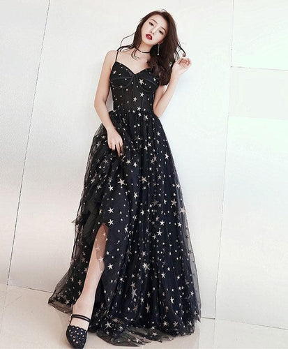 Black V Neck Tulle Long Prom Dress, Black Evening Dress A013 - DelaFur Wholesale