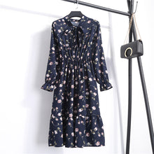 Load image into Gallery viewer, Korean Office Polka Dot Vintage Midi Floral Long Sleeve Dress SP16161 - SpreePicky FreeShipping