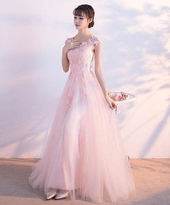 Pink Round Neck Tulle Lace Long Prom Dress, Pink Tulle Evening Dress - DelaFur Wholesale