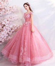 Load image into Gallery viewer, Pink Tulle Off Shoulder Lace Long Prom Dress, Pink Evening Dress - DelaFur Wholesale