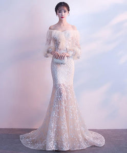 Champagne Tulle Lace Mermaid Long Prom Dress, Tulle Lace Evening Dress - DelaFur Wholesale