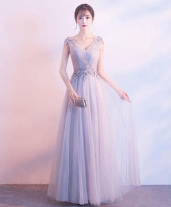 Gray V Neck Tulle Lace Long Prom Dress, Gray Tulle Evening Dress - DelaFur Wholesale