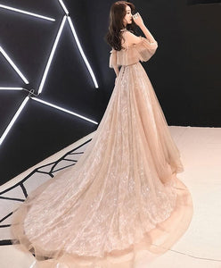 Champagne Tulle Lace Long Prom Dress Champagne Tulle Lace Formal Dress - Harajuku Kawaii Fashion Anime Clothes Fashion Store - SpreePicky