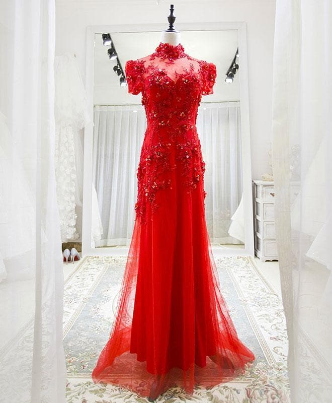 Red Tulle Lace Long Prom Dress, Red Lace Tulle Formal Dress - DelaFur Wholesale