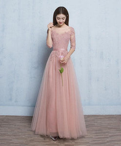 Pink Round Neck Tulle Lace Long Prom Dress, Pink Bridesmaid Dress - DelaFur Wholesale